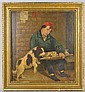 19TH C. O/B MAN WITH DOG