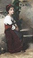 Emile Levy (French 1826-1890) A girl seated on a