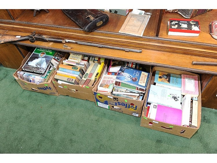 Three boxes of books inc. biographies, novels etc.