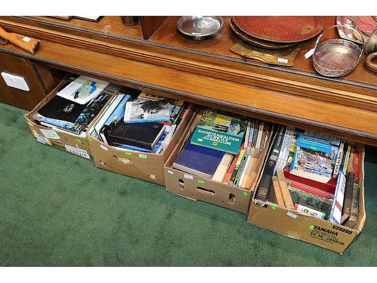 Four boxes of books inc. reference, novels etc.