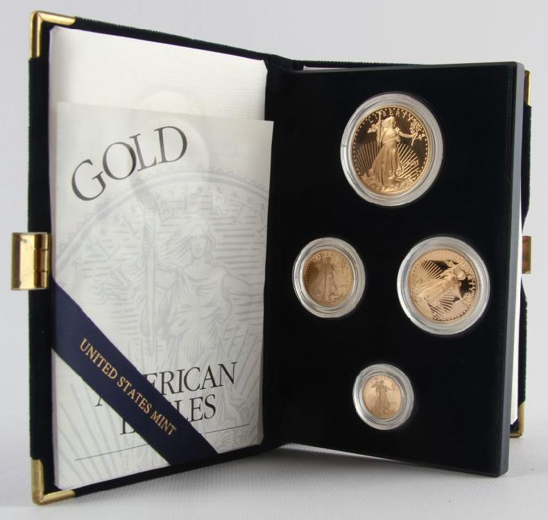 2001 PROOF 4 COIN GOLD SET AMERICAN EAGLE