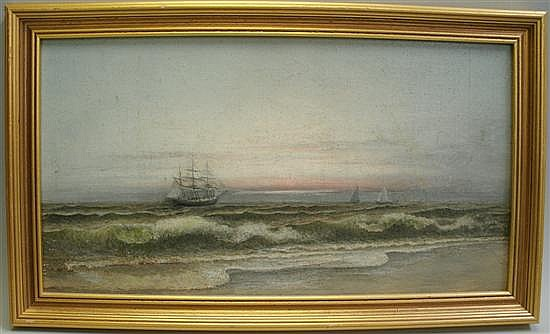 American School (19th/20th century) SCHOONER AT SEA Oil on board