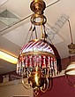 Cranberry Glass with Opalescent Swirl Parlor Lamp