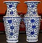 2 Blue and White Porcelain Tall Vases