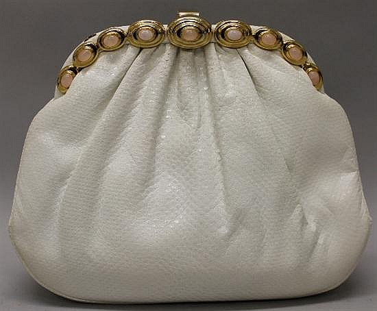 Judith Leiber White Reptile Leather Evening Bag