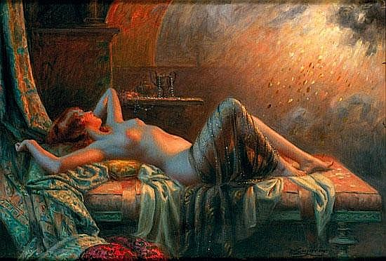 DELPHIN ENJOLRAS 1857-1945 REVERIE Huile sur toile