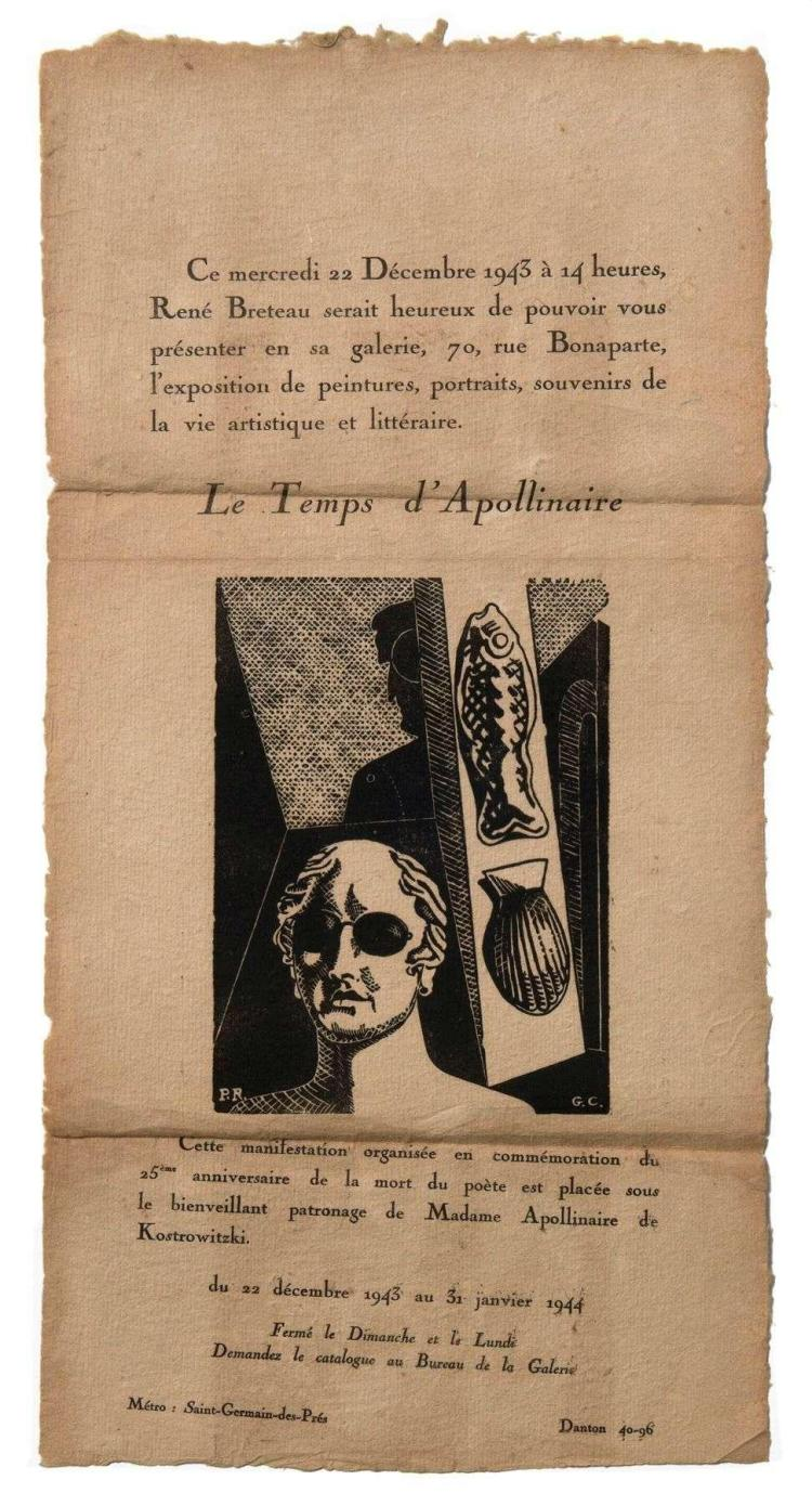 [Giorgio DE CHIRICO] Guillaume APOLLINAIRE  Invitation  l'exposition 