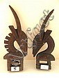 A Pair of old hand Carved BAMBARA scultpures of Gazelles, Ivory Coast, Height: 32-35cm (each)