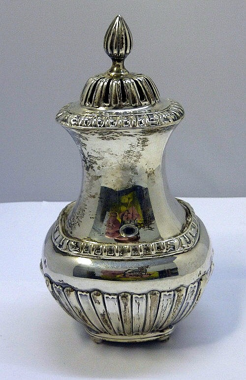 An Edward VII silver sugar caster, makers initials