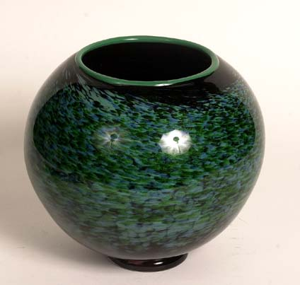 Dated and signed 2003 large green art glass bowl