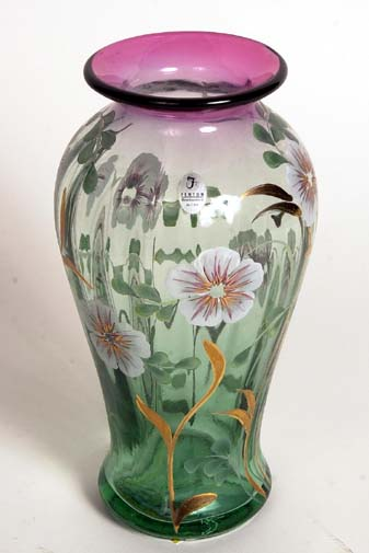 Signed Frank and Bill Fenton art glass vase 10