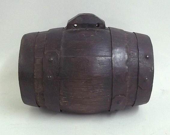 A small oak harvest barrel, iron bound, 24 by