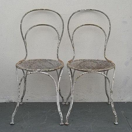 Two 1920s French mesh and rod garden chairs,