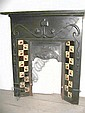 An Art Nouveau fire surround with original fitments (bag), tiled, cast iron circa 1895