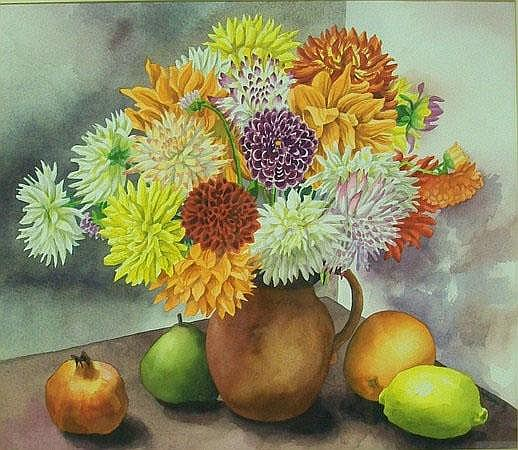 Cary Akroyd: a still life watercolour of fruit and