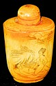 Bone carved snuff bottle with erotic scene