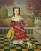 Thomas Attardi oil on canvas, girl with dog, Thomas Attardi, Click for value