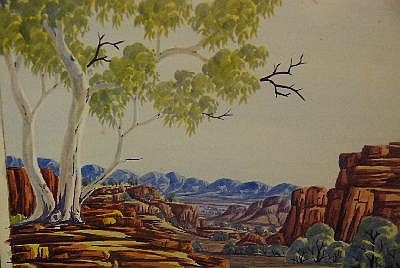 Clem Abbott, Central Australian Landscape together with Peter Taylor, Central Australian Landscape and Wenton Rubuntja, watercolours