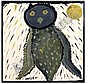 Mose Tolliver painting (Alabama, 1915-2006), owl, Mose Tolliver, Click for value