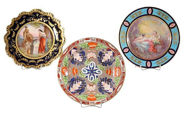 Three Porcelain Cabinet Plates, Old