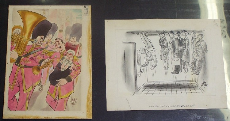 TWO UNFRAMED WORKS Original illustration by Abner Dean (Born 1910 American), watercolor on illustration board, approximate board size 13 1/4'' x 9 3/4'', and a watercolor by Jeff Keate, approximate paper size 10 3/4'' x 13 1/2'', signed lower right.
