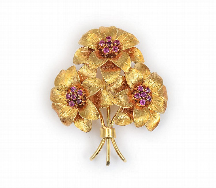 TIFFANY & CO 18K RUBY FLORAL BROOCH