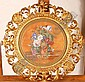 Ornate 19th century Florentine carved giltwood circular picture frame with scrolled acanthus & shell designs, inside measurements 10