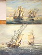 MAX PARSONS (20th century): Oil on board - Tall ships & fishing vessels off the coast, signed, 10in. x 14in. & Oil on canvas - Fishing fleet off