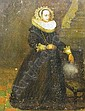 Dutch school, 17th/18th century oil on oak panel - Portrait of a lady, full length, wearing lace headdress, large ruff & lace cuffs, in interior