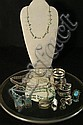 Turquoise  &  silver Jewelry 2 turquoise necklaces, 4 rings, 2 silver necklaces bracelet and more