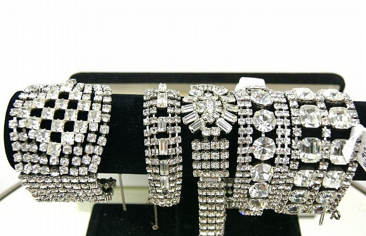 Collection of 5 Vintage rhinestone bracelets