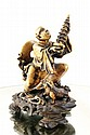 Chinese stone carved figure w orig stand - 5