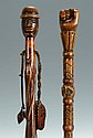 2 Folk Art Carved Figural Canes, poss. Native American & Civil War Reunion