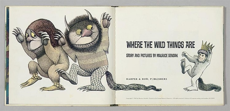 SENDAK, Maurice (b.1928).  Where the Wild Things Are . [New York:] Harper & Row, 1963.