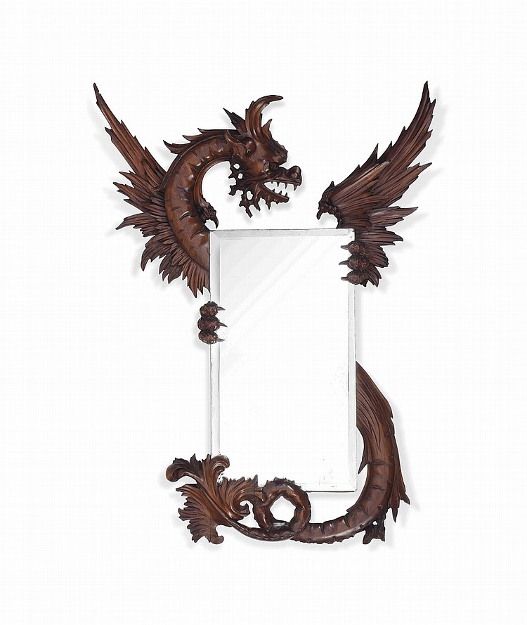 A CARVED WALNUT 'DRAGON' MIRROR