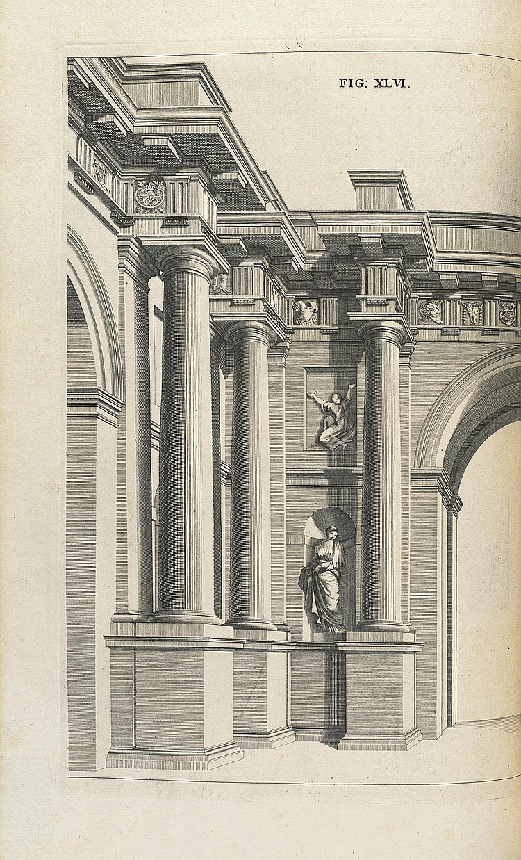 POZZO, Andrea (1642-1709). Rules and Examples of Perspective Proper for Painters and Architects, etc. London: Benj. Motte for John Sturt, 1707. 2° (403 x 254mm). Engraved frontispiece, titles in English and Latin, headpiece and initial to