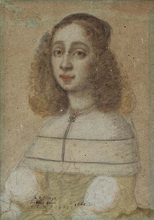 Portrait of a young lady, bust-length, wearing a lace collar