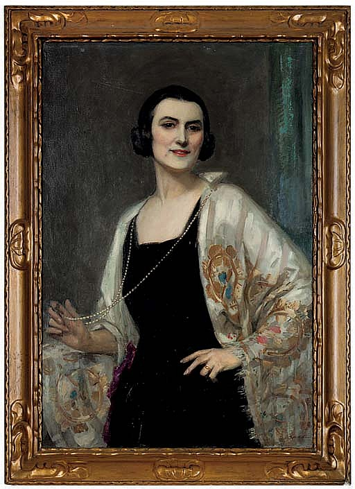 Portrait of Sarah Briana Amshewitz, the artist's wife, standing half-length, in a black dress with a white shawl and a pearl necklace
