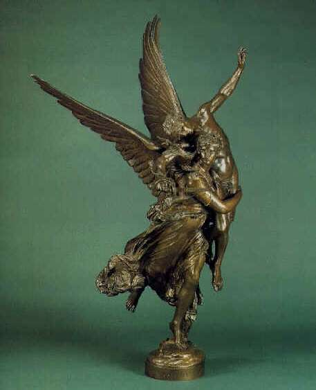 MARIUS JEAN ANTONIN MERCIE (FRENCH, 1845-1916) 'Gloria Victis', A Bronze Allegorical Group of an Angel with a Soldier