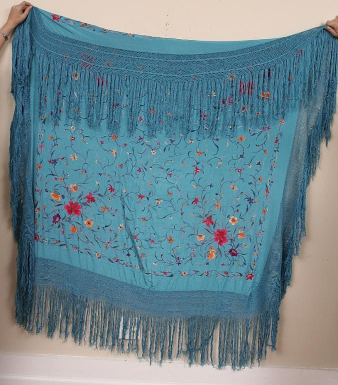 Chinese Embroidered Silk Piano Shawl