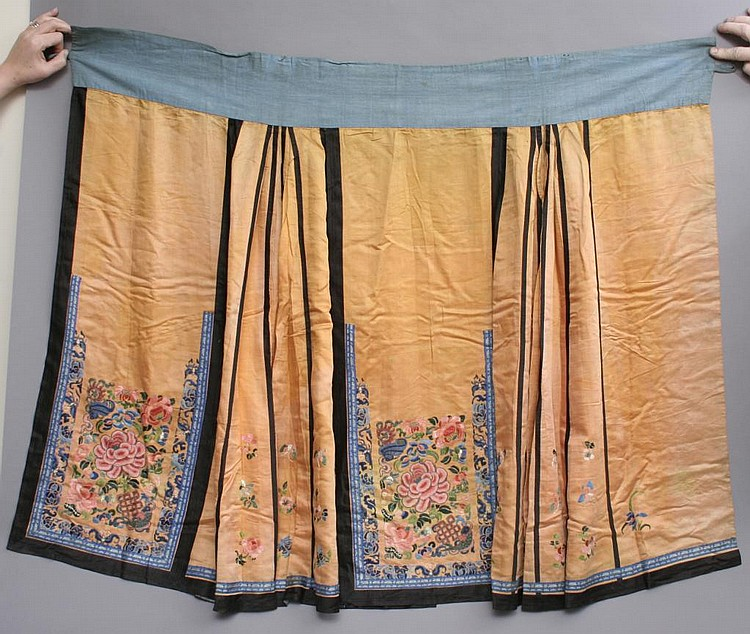 Antique Chinese Embroidered Silk Skirt