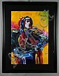 Peter Max Mick Jagger Mixed Media Painting on Paper