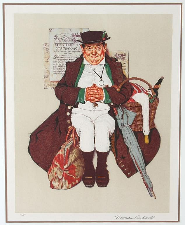 N. Rockwell Muggleton Stagecoach Lithograph