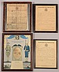 Lot of (4) framed WW1 items: (3) U.S. Army Honorable Discharges for Pennsylvania soldiers framed to allow viewing the back with the Enlistment Records of two. 8-1/2