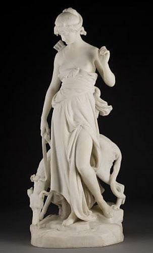 Eugene-Antoine Aizelin white marble sculpture,