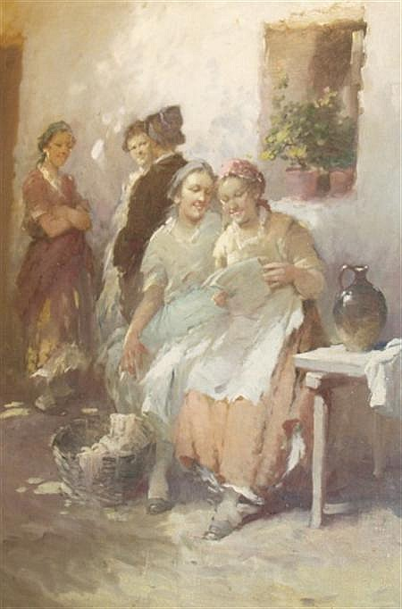 Agoston Acs Hungarian, 1881-1947 Reading the News