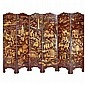 Chinese Lacquered Six-Panel Screen