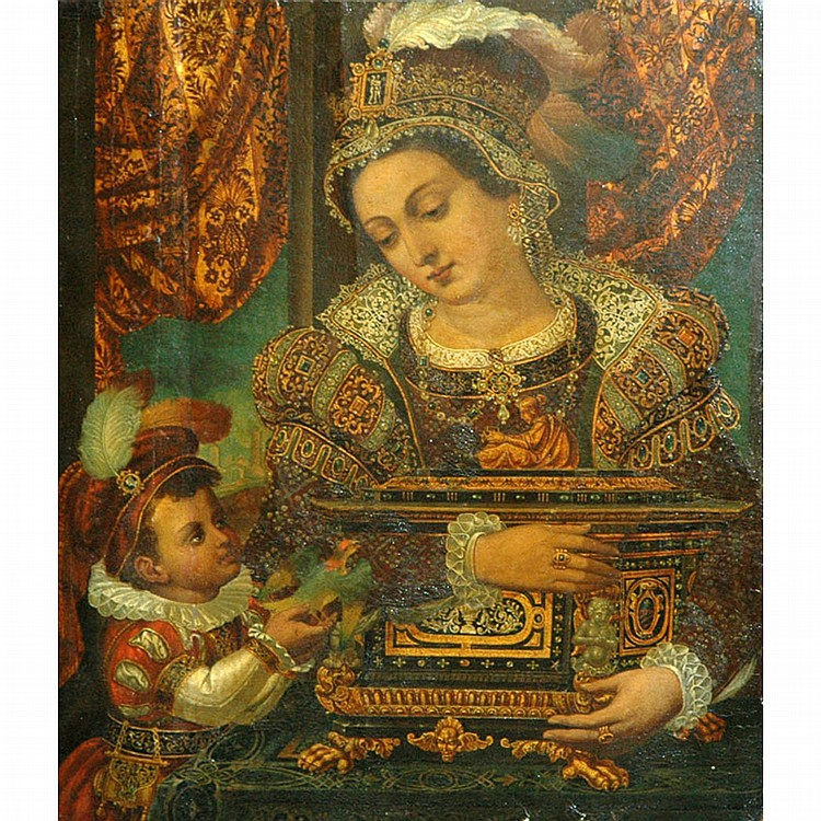 Hispano-Flemish School Undetermined period A Noblewoman and her Son   Oil on panel 20 1/4 x 17 inches (51.5 x 43...