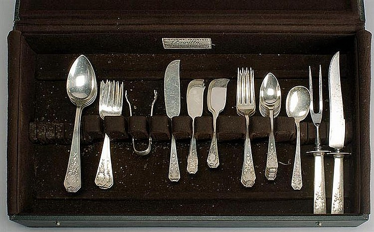 PARTIAL STERLING SILVER FLATWARE SET BY WHITING, DIV. OF GORHAM. Consists of: 3 serving spoons1 sugar shell6 salad forks 5 luncheon...