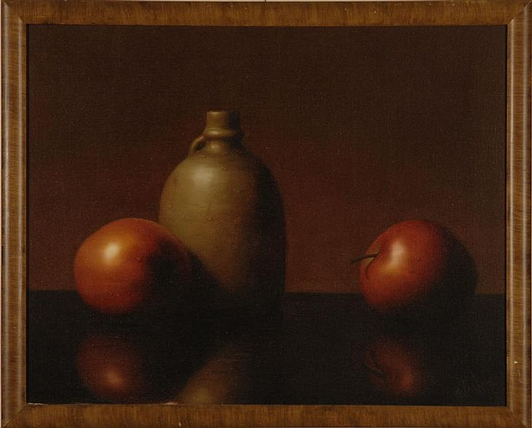 AL (ALFRED) JACKSON, American, 1940-2001, Still life of apples and a crock., Oil on canvas, 16